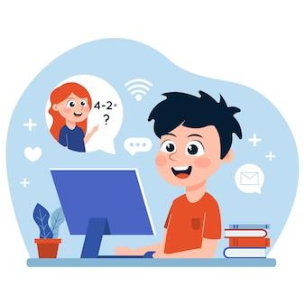 Enfants prenant des cours en ligne