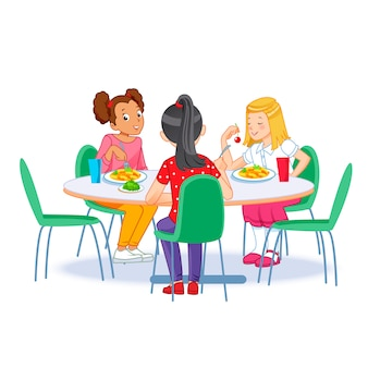 Enfants prenant leur petit déjeuner ensemble