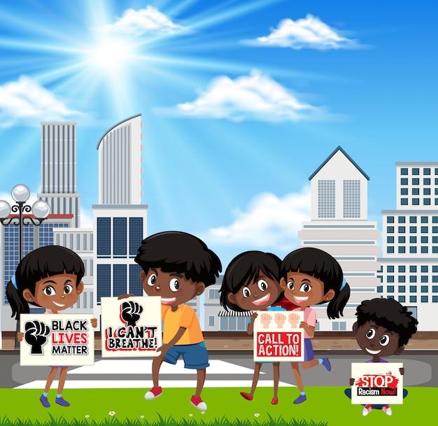 Des enfants protestent contre le racisme