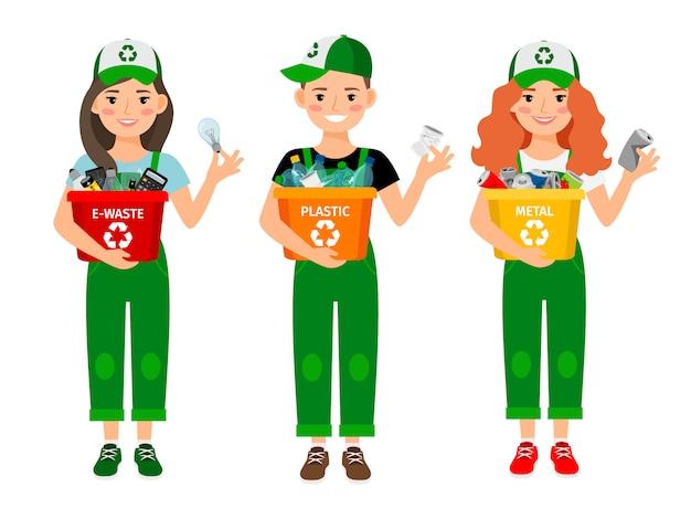 Enfants qui apprennent à recycler les ordures
