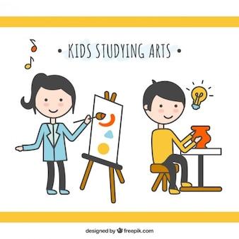 Les enfants qui étudient les arts dans le style linéaire