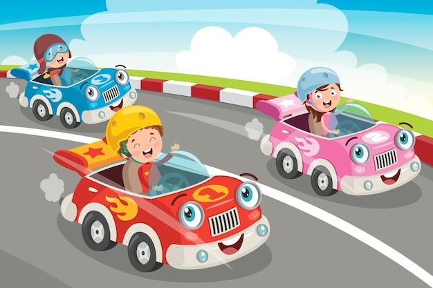 Enfants racing avec des voitures drôles