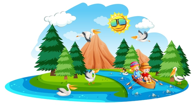 Les enfants rament le bateau dans la scène de la forêt de ruisseau sur fond blanc