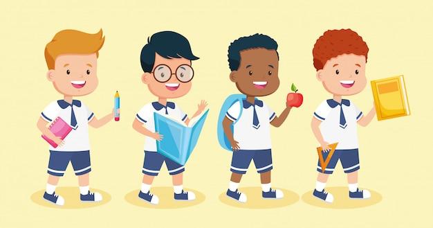 Enfants en rentrée scolaire