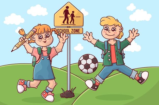Enfants de retour à l'école de dessin animé