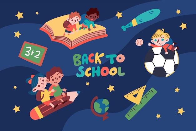 Enfants de retour à l'illustration de l'école