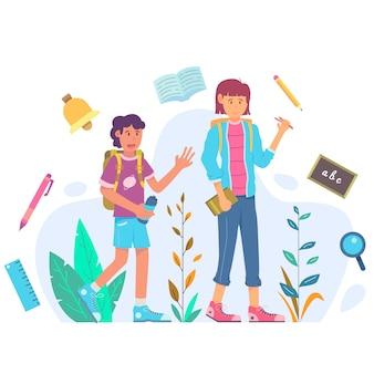 Les enfants retournent à l'école au design plat