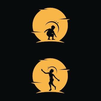 Les enfants rêvent d'atteindre une étoile avec un fond de lune