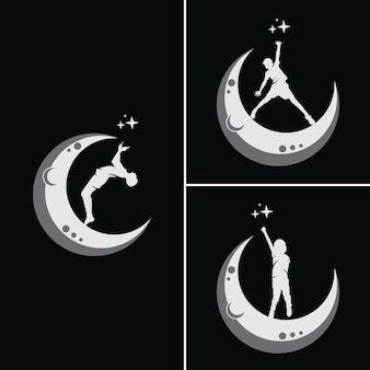 Les enfants rêvent d'atteindre une étoile avec la lune