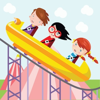 Enfants ride roller coasters illustration de dessin animé
