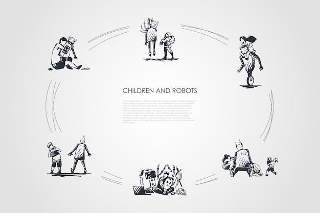Enfants et robots dessinés à la main cicle