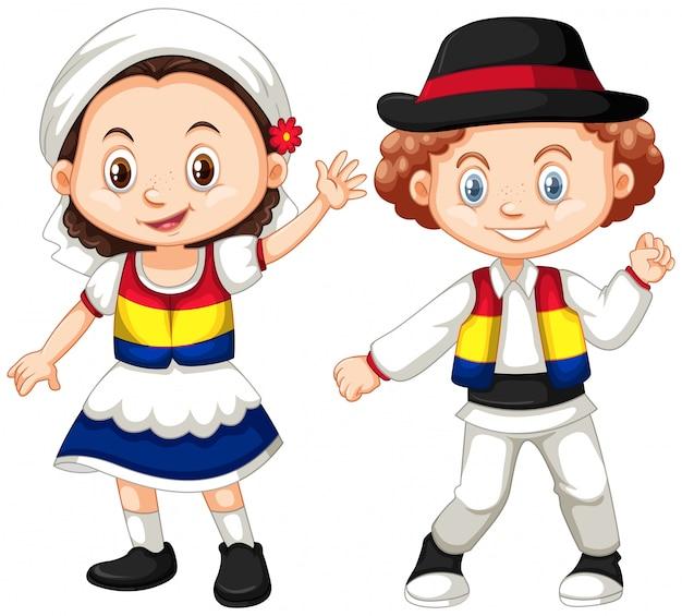 Les enfants de la roumanie en tenue traditionnelle
