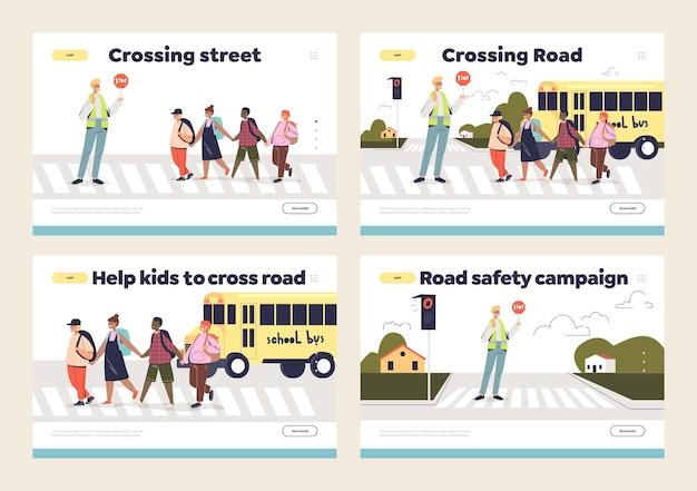 Enfants et rue traversant ensemble de page de destination