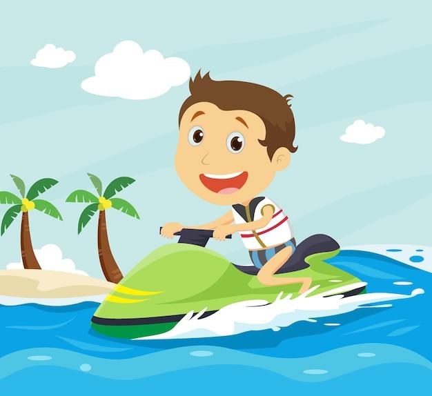 Enfants s'amusant sur un bateau banane