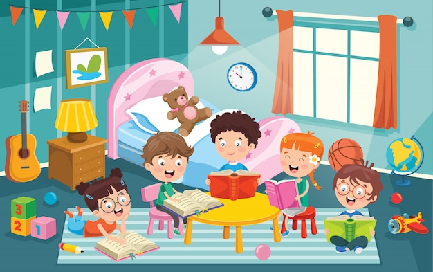 Enfants s'amusant dans une chambre