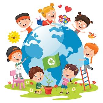 Enfants s'amusant avec la terre