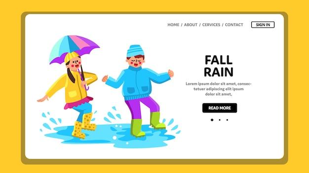 Enfants de la saison des pluies d'automne sautant dans une flaque d'eau