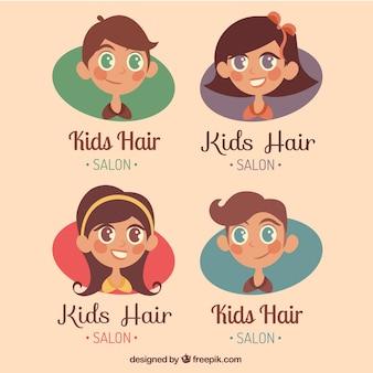 Enfants salon de coiffure logo collection