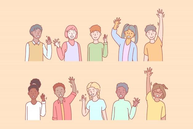 Les enfants saluent ou disent bonjour avec la main