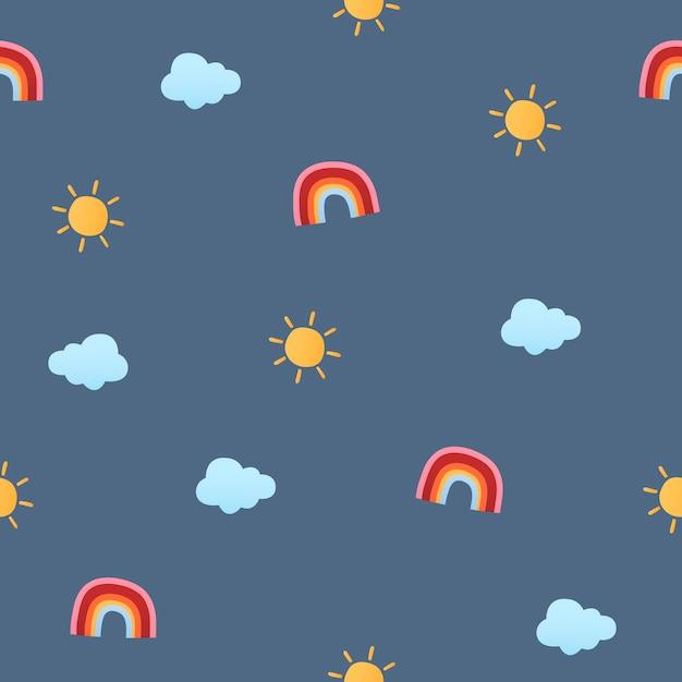 Enfants sans couture mignons de fond, illustration vectorielle arc-en-ciel