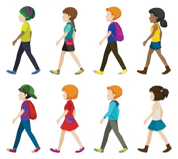 Enfants sans visage marchant sur un fond blanc