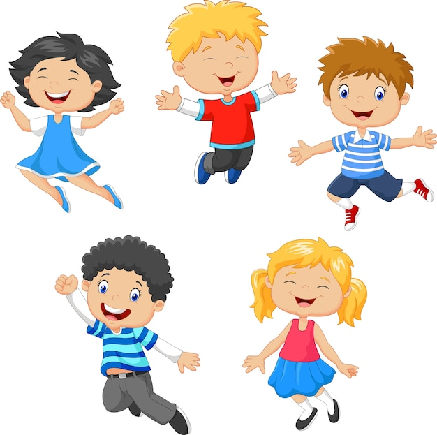 Enfants sautant ensemble