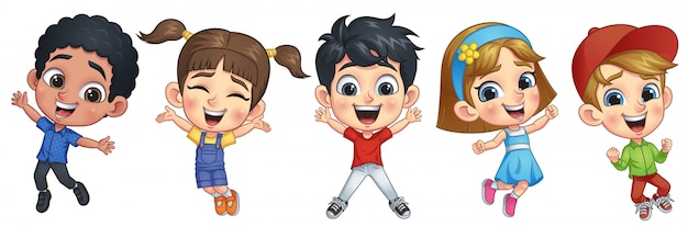 Enfants sautant heureux