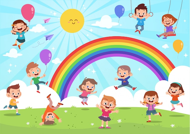 Enfants sautant sous le dessin animé coloré arc-en-ciel