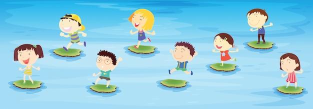 Enfants sautant