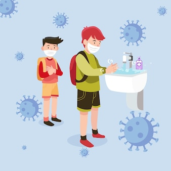 Enfants se lavant les mains à l & # 39; école