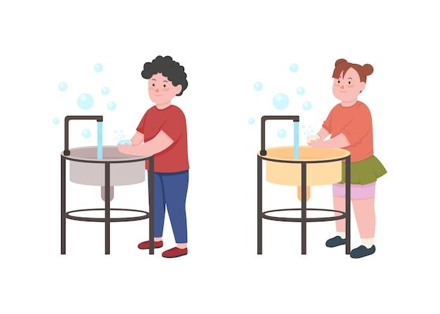 Les enfants se lavent les mains avec une illustration couleur plat de savon