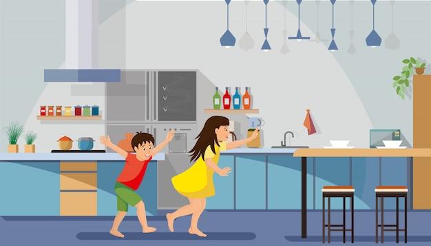 Enfants se pressant pour le petit déjeuner vector plate
