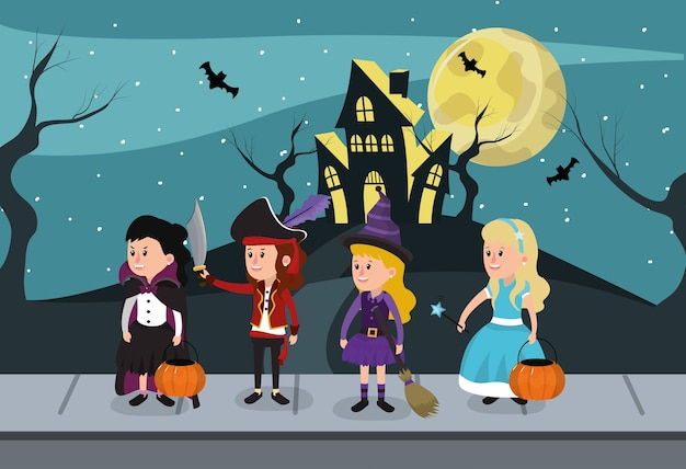 Enfants le soir d'halloween