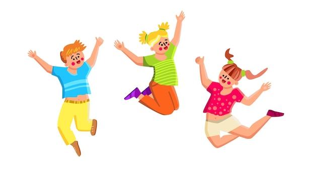Enfants souriants jouant et sautant ensemble vecteur. happy smiling kids boy and girls jouent, sautent et dansent. personnages enfants avec une drôle d'expression ont une illustration de dessin animé plat de temps actif