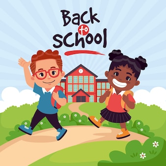 Les enfants de style dessin animé retournent à l'école