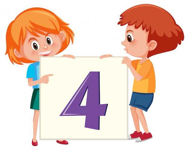 Enfants tenant la bannière numéro quatre