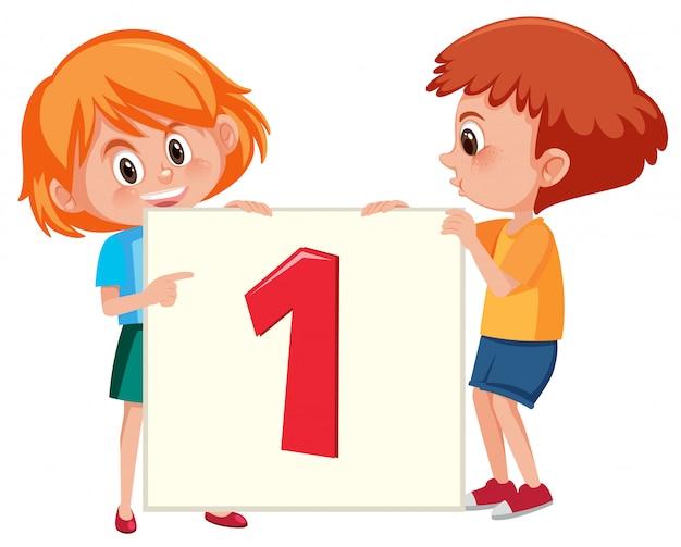 Enfants tenant la bannière numéro un