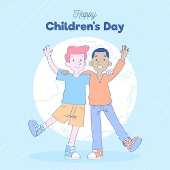 Enfants tenant ensemble la journée mondiale des enfants