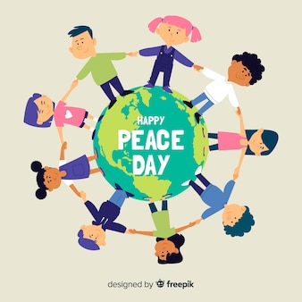 Enfants tenant par la main le jour de la paix