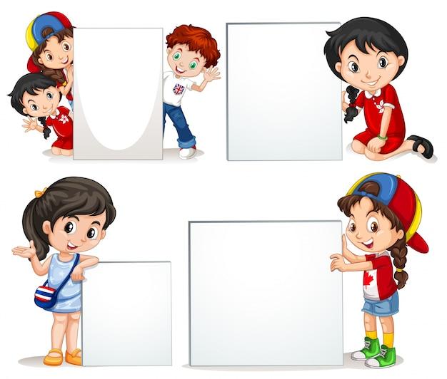 Enfants, tenue, blanc, signe