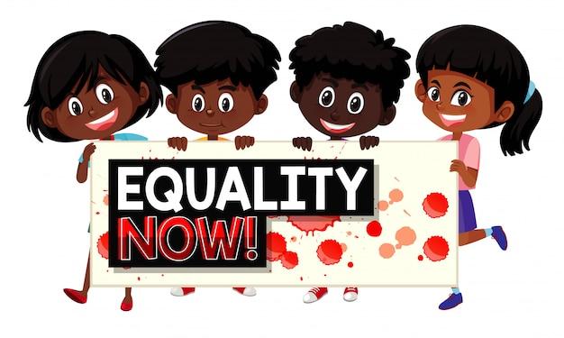 Enfants, tenue, égalité, signe