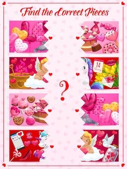 Les enfants trouvent le bon jeu de pièces avec les symboles de la saint-valentin
