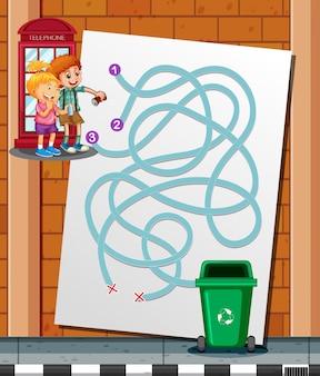 Les enfants trouvent le moyen de jouer à la poubelle