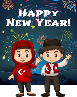Les enfants turcs à la carte du nouvel an