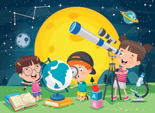 Enfants utilisant le télescope pour la recherche astronomique