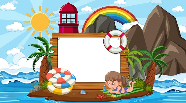Enfants en vacances à la plage pendant la journée avec un modèle de bannière vide
