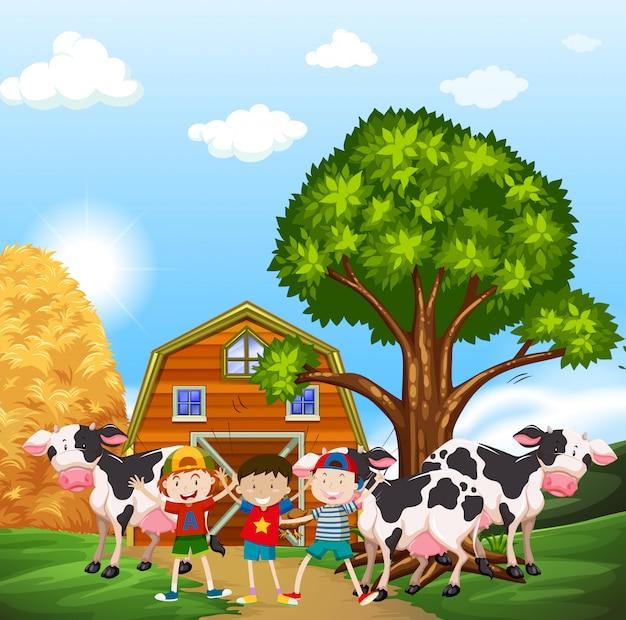Enfants et vaches dans la basse-cour