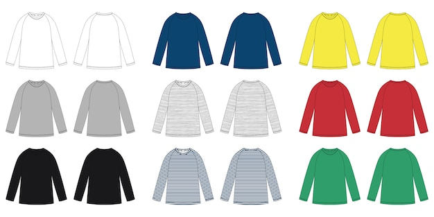 Enfants vecteur sweat-shirt raglan croquis technique.