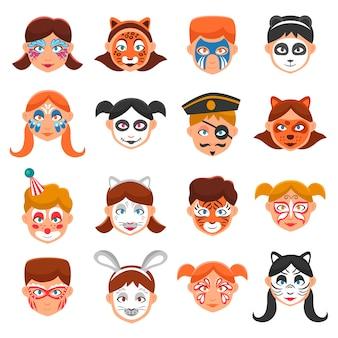 Enfants avec des visages peints