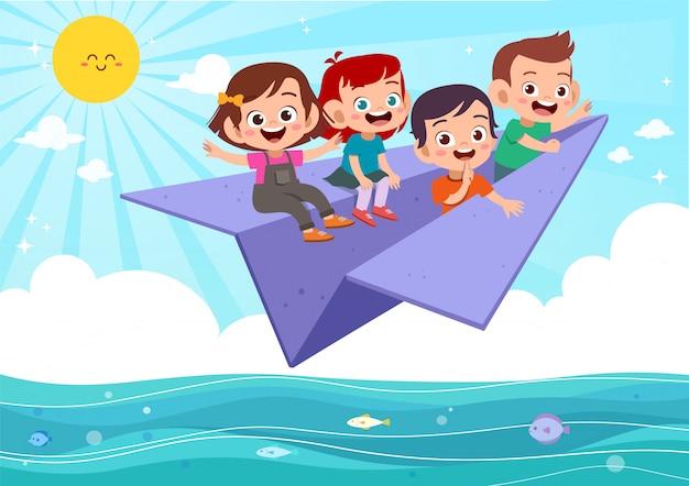 Enfants Volent Avion En Papier Vecteur Premium